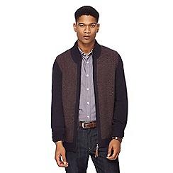 RJR.John Rocha - Navy zig zag knit zip through lambswool rich cardigan