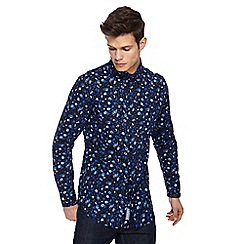 RJR.John Rocha - Blue falling poppy print tailored fit shirt