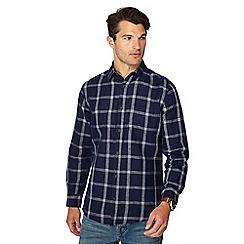 RJR.John Rocha - Blue check print linen blend tailored fit shirt