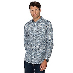 RJR.John Rocha - Blue floral print linen blend tailored fit shirt