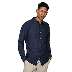 RJR.John Rocha - Big and tall navy linen blend tailored fit shirt