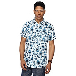 RJR.John Rocha - White palm leaf print short sleeve tailored fit shirt