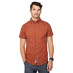 RJR.John Rocha - Orange floral dot print short sleeve tailored fit Oxford shirt