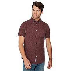 RJR.John Rocha - Big and tall red floral print short sleeve tailored fit Oxford shirt