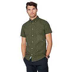 RJR.John Rocha - Big and tall green floral print short sleeve tailored fit Oxford shirt