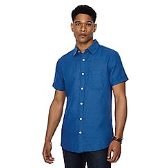 RJR.John Rocha - Blue linen blend short sleeve tailored fit shirt