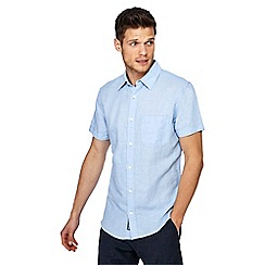 RJR.John Rocha - Light blue linen blend short sleeve tailored fit shirt