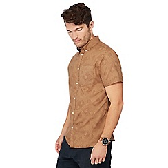 RJR.John Rocha - Big and tall tan moon print short sleeve tailored fit Oxford shirt