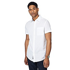RJR.John Rocha - Big and tall white spotted print button down collar short sleeve tailored fit shirt