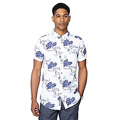 RJR.John Rocha - Blue floral print button down collar short sleeve tailored fit shirt