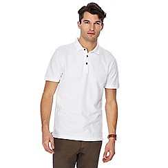RJR.John Rocha - Big and tall white textured stripe tailored fit polo shirt