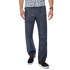 RJR.John Rocha - Navy straight leg linen blend trousers