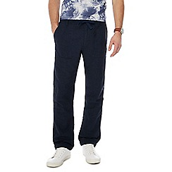 RJR.John Rocha - Big and tall dark blue slim leg linen bend trousers