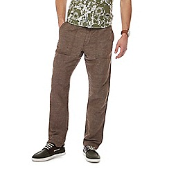 RJR.John Rocha - Big and tall brown slim leg linen bend trousers