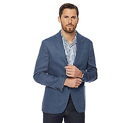 RJR.John Rocha - Big and tall blue linen regular blazer