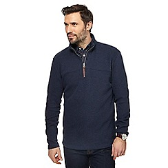RJR.John Rocha - Navy French rib zip neck sweater