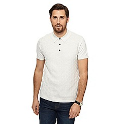 RJR.John Rocha - Big and tall natural geometric textured knitted polo shirt