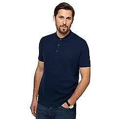 RJR.John Rocha - Big and tall navy tuck stitch textured knitted polo shirt