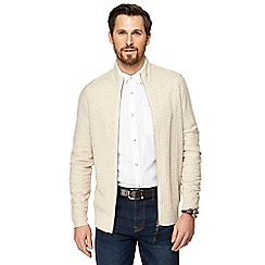 RJR.John Rocha - Big and tall cream woven knit zip through cardigan