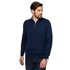 RJR.John Rocha - Big and tall navy mini cable knit zip neck sweater