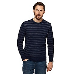 RJR.John Rocha - Navy striped tuck stitch jumper