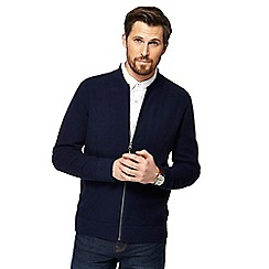 RJR.John Rocha - Navy herringbone textured zip through jacket