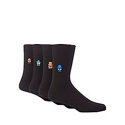 Red Herring - Pack of four black moustache face embroidered socks