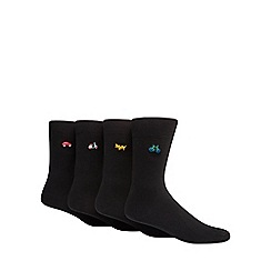 Red Herring - Pack of four black embroidered socks