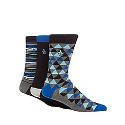 Original Penguin - Pack of three assorted plain and patterned socks