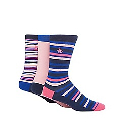 Original Penguin - Pack of three assorted plain and striped socks