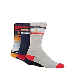 Original Penguin - Pack of three assorted striped ribbed socks