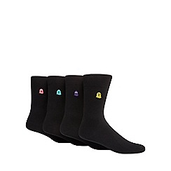Red Herring - Pack of four black ghost embroidered socks