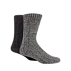 Mantaray - Grey pack of two chunky wool blend socks