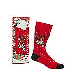 Debenhams Sports - Red reindeer print novelty socks in a gift box