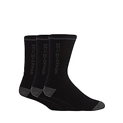 Ben Sherman - Pack of three black logo print socks
