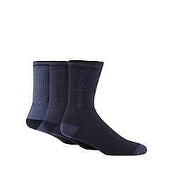 Ben Sherman - Pack of three blue logo embroidered socks