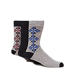 Ben Sherman - Pack of three grey 'Union Jack' print socks