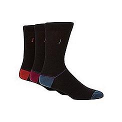 J by Jasper Conran - Designer pack of three black placement striped socks