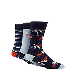 Original Penguin - 3 pack navy patterned ankle socks
