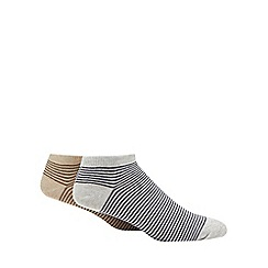 Debenhams Sports - 2 pack natural stripe trainer socks