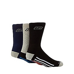 Skechers - Pack of three multi-coloured stripe crew socks