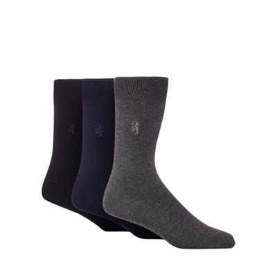 Mens Cotton-rich Socks - 3-pack - M - Grey Lands End Clearance Great Deals Huge Surprise Sale Online Free Shipping Hot Sale dfSOlLqU7