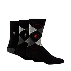 Pringle - Pack of three grey argyle bamboo socks