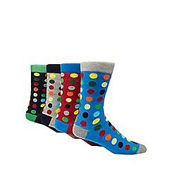 Red Herring - Pack of 4 multi-coloured spot print ankle socks