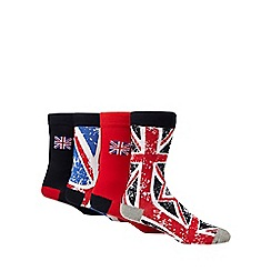 Red Herring - Pack of 4 multi-coloured Union Jack flag ankle socks