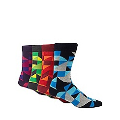 Red Herring - Pack of 4 multi-coloured geometric print ankle socks