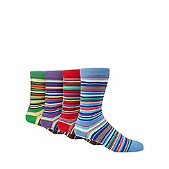 Red Herring - Pack of 4 multi-coloured stripe ankle socks