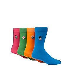 Red Herring - Pack of 4 multi-coloured dog embroidered ankle socks