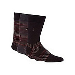 J by Jasper Conran - Designer pack of three chocolate striped socks