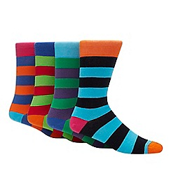 Red Herring - 4 pack multicoloured bold stripe socks